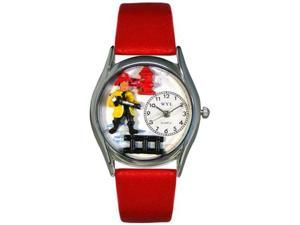 Firefighter Black Leather And Silvertone Watch #S0620011