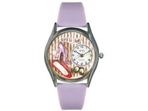 Shoe Shopper Lavender Leather And Silvertone Watch #S1010006