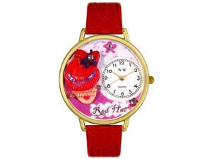 Red Hat Madam Red Leather And Goldtone Watch #G0470005