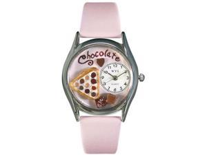 Chocolate Lover Pink Leather And Silvertone Watch #S0310005