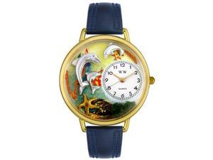 Dolphin Navy Blue Leather And Goldtone Watch #G0140004