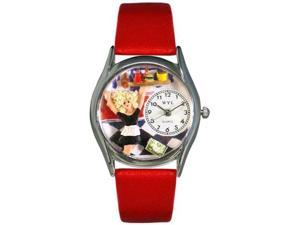 Waitress Red Leather And Silvertone Watch #S0630013