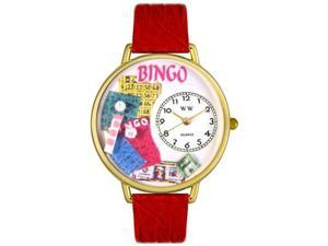 Bingo Red Leather And Goldtone Watch #G0430007