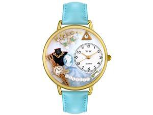 Jewelry Lover Pearls Blue Baby Blue Leather And Goldtone Watch #G0910013