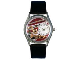 Wind Instruments Black Leather And Silvertone Watch #S0510015