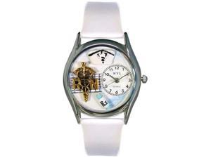 RN White Leather And Silvertone Watch #S0610019