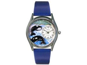 Whales Royal Blue Leather And Silvertone Watch #S0140001