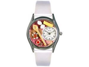 Baking White Leather And Silvertone Watch #S0310006