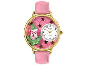 Pink Glitter Clown Pink Leather And Goldtone Watch #G0210009