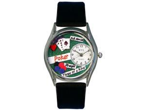 Poker Black Leather And Silvertone Watch #S0430003