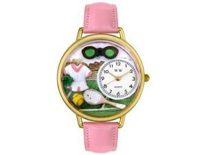 Tennis Female Pink Leather And Goldtone Watch #G0810008