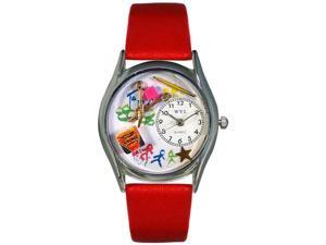 Preschool Teacher Red Leather And Silvertone Watch #S0640004