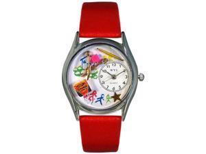 Preschool Teacher Red Leather And Silvertone Watch #S0640004