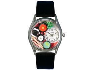 Sushi Black Leather And Silvertone Watch #S0310012
