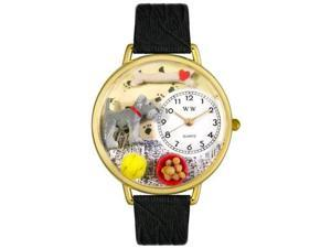 Schnauzer Black Skin Leather And Goldtone Watch #G0130066