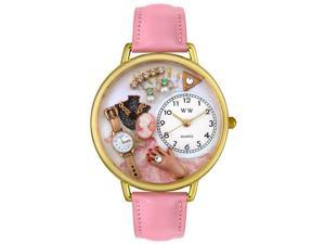 Jewelry Lover Pink Pink Leather And Goldtone Watch #G0910014