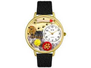 Yorkie Black Skin Leather And Goldtone Watch #G0130077
