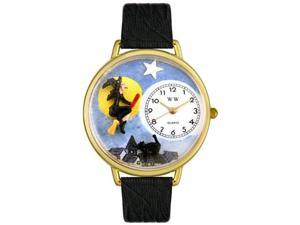 Halloween Flying Witch Black Skin Leather And Goldtone Watch #G1220001