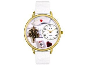 RN White Leather And Goldtone Watch #G0620008
