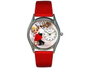 Square Dancing Red Leather And Silvertone Watch #S0510007