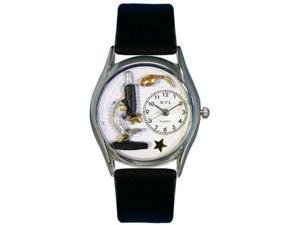 Science Teacher Black Leather And Silvertone Watch #S0640013