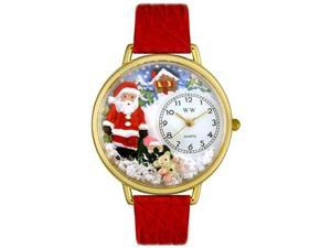 Christmas Santa Claus Red Leather And Goldtone Watch #G1220009