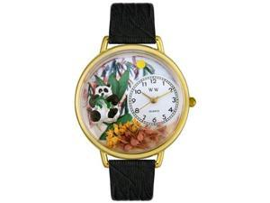 Panda Bear Black Skin Leather And Goldtone Watch #G0150017