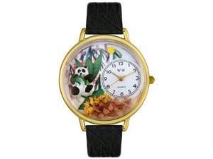 Panda Bear Black Skin Leather And Goldtone Watch #G0150017