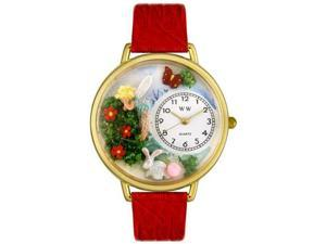 Garden Fairy Red Leather And Goldtone Watch #G1210010