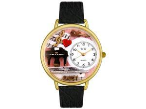 Music Teacher Black Skin Leather And Goldtone Watch #G0510001