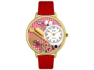 Baking Red Leather And Goldtone Watch #G0310005