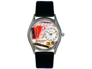 Book Lover Black Leather And Silvertone Watch #S0450003
