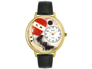 Hockey Black Padded Leather And Goldtone Watch #G0820011