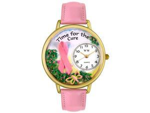 Time for the Cure Pink Leather And Goldtone Watch #G1110001