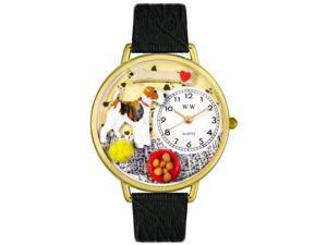 Fox Terrier Black Skin Leather And Goldtone Watch #G0130039