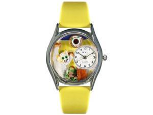 Bad Cat Yellow Leather And Silvertone Watch #S0120008