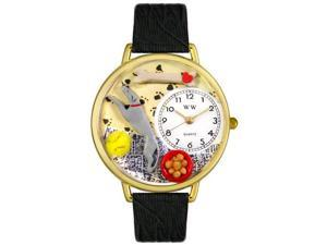 Greyhound Black Skin Leather And Goldtone Watch #G0130046