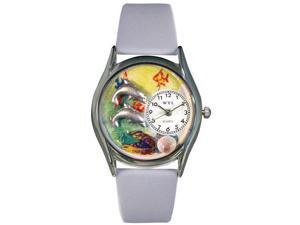 Dolphin Navy Blue Leather And Silvertone Watch #S0140007
