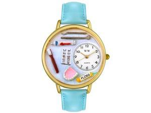 Dentist Baby Blue Leather And Goldtone Watch #G0620001
