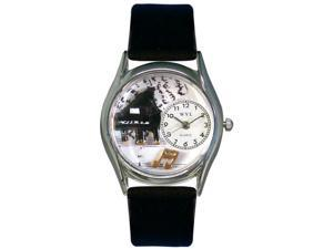 Music Piano Black Leather And Silvertone Watch #S0510001