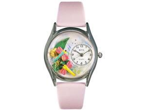 Dragonflies Pink Leather And Silvertone Watch #S1210007