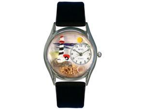 Lighthouse Black Leather And Silvertone Watch #S1210012