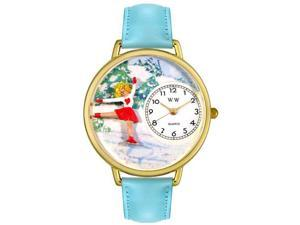 Ice Skating Baby Blue Leather And Goldtone Watch #G0810024
