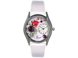 Birthstone: June White Leather And Silvertone Watch #S0910006