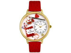 Scrapbook Red Leather And Goldtone Watch #G0410008