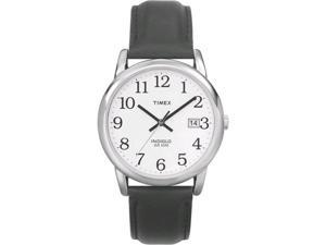 Timex Men's T2H281 Black Calf Skin Quartz Watch with White Dial