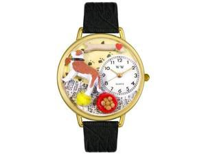 Saint Bernard Black Skin Leather And Goldtone Watch #G0130070