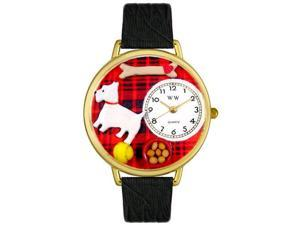 Westie Black Skin Leather And Goldtone Watch #G0130073