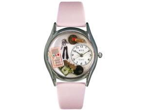 Teen Girl Pink Leather And Silvertone Watch #S0420004