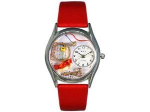 Needlepoint Red Leather And Silvertone Watch #S0440001